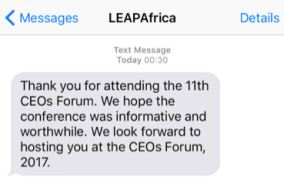 Leaps Africa's text message to participants